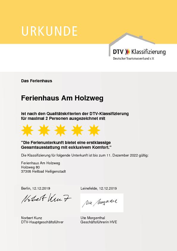 Urkunde Deutscher Tourismusverband 5 Sterne